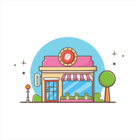 Coffee Shop Building. the facade of shop icon in flat style design illustration