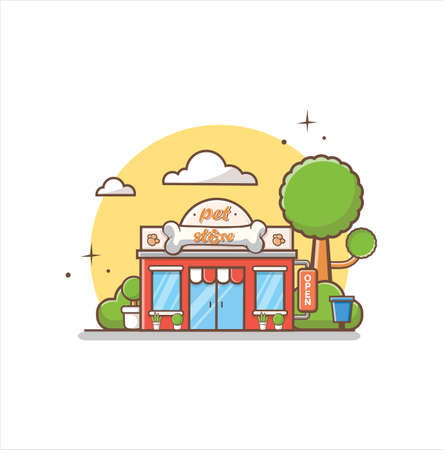 Pet Store And Shop For Animal Care Building. the facade of shop icon in flat style design illustration