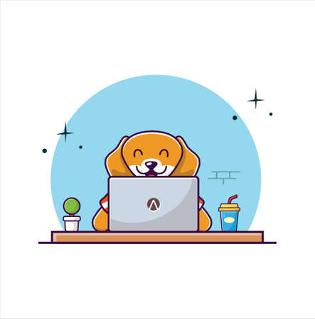 Cute Dog Working On Laptop Cartoon Vector illustration