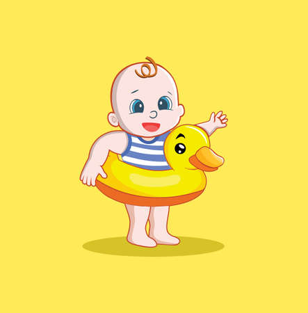 Cute Baby Boy With A Duck Float Vector Illustration 向量圖像