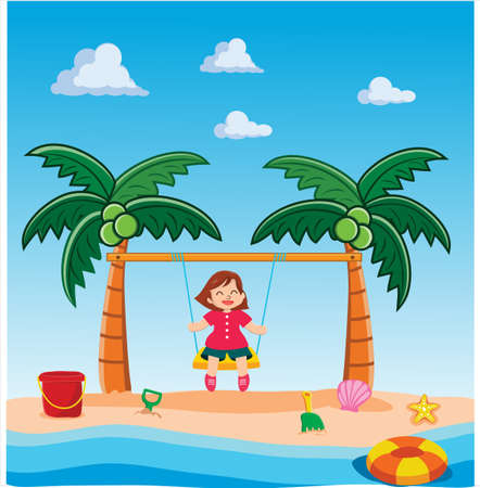 Little Girl Playing Swing on Beach Vector illustration in flat. summer holiday vacation.