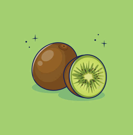 Vector illustration of a kiwi icon with half slice. Flat design. Isolated. 矢量图像