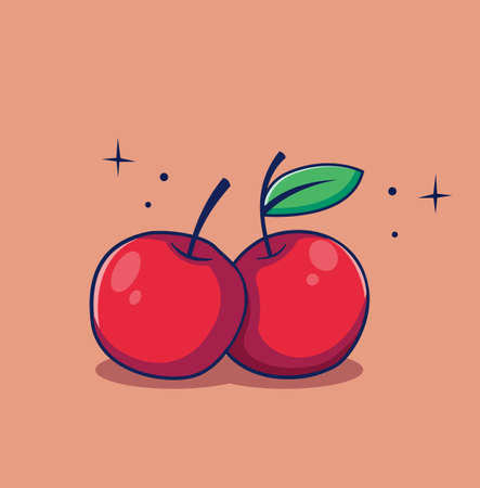 Cartoon double cherry on the twig in flat style Design Illustration