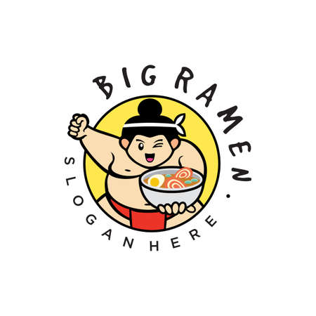 Sumo wrestlers. Japanese Noodle logo Design Flat Style. Sumo fighter with a bowl of ramen with chopsticks.Big Soup Ramen 向量圖像