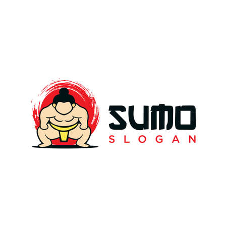 Sumo wrestler Logo sign. Fat, overweight man. Traditional sport of Japan. Branding Identity Corporate vector logo design Flat Style