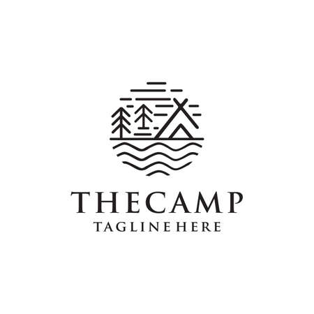 camping logos consisting of mountains, camp and trees line style isolated for explore emblem, hiking sticker, tourist symbol, travel badge, expedition label, poster, banner, t-shirt