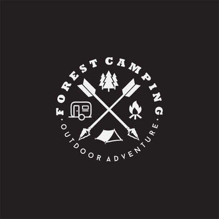 Camping icon vector sign and symbol isolated on black background. Camping logo concept 向量圖像