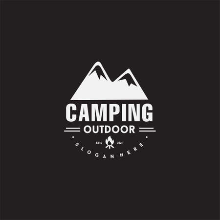 Mountain camp fire Logo emblem template camping tent 向量圖像