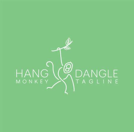 line icon for Monkey On Tree Logo Design. hang and dangle. Minimalist Unique Simple Sign Animal Mono Line Illustration