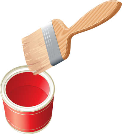 Vector brush with red paint and bucket isolated