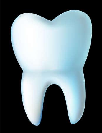 Wei� Zahn isoliert auf schwarz Illustration