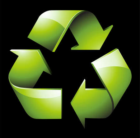 An illustration with green recycle
