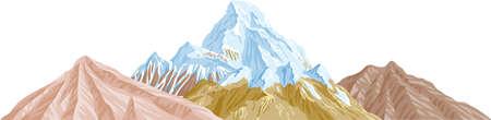 Eine Abbildung mit Bergen Illustration