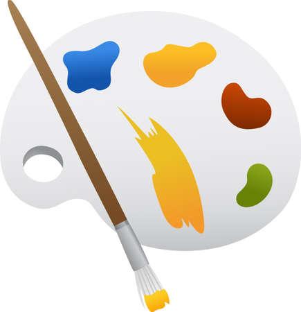 Ein illustraion mit Pinsel und Palette