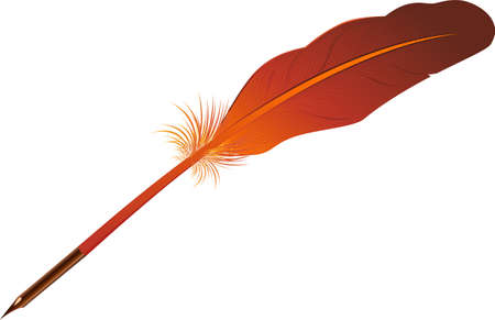 An illustration with red feather