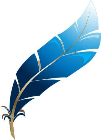 Eine Illustration mit blauen Feder