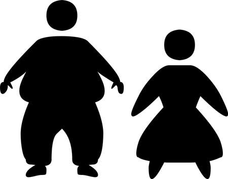 An illustration with fat male and female