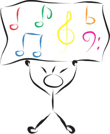 An illustration with boy and notes musical Illustration