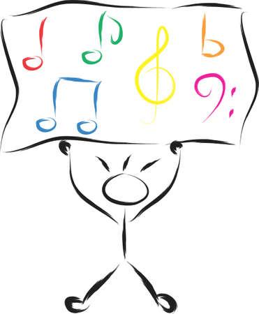 Eine Abbildung mit Jungen und Notizen Musical