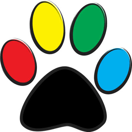 An illustration with paw print