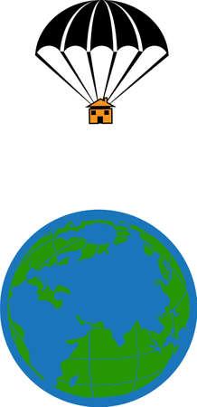 Eine Abbildung mit einem Fallschirm Haus