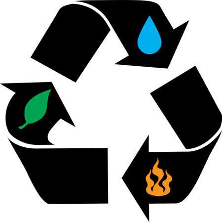 Illustration von Recycling-Symbol mit Feuer-, Blatt-, Wasser-und