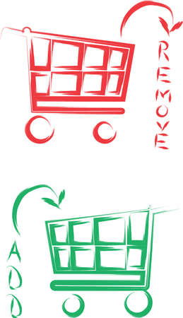An illustration with cart add and remove