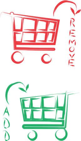 Eine Abbildung mit Warenkorb hinzuf�gen und entfernen Illustration