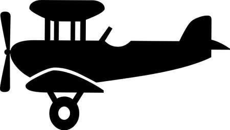 Eine Illustration mit schwarzen Flugzeug