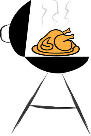 An illustration with chicken grill