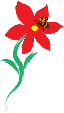 An illustration with bee on flower Illustration