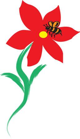 Eine Abbildung mit Biene auf Blume Illustration