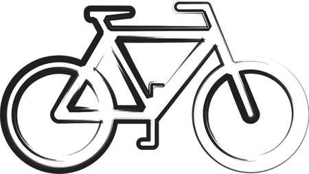 Eine Illustration mit schwarzen Fahrrad