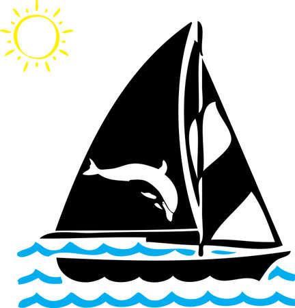 Eine Illustration mit schwarzen Schiff