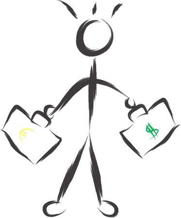 Eine Illustration Mann mit Taschen-Dollar und Euro
