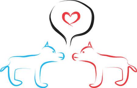 Eine Illustration mit Liebe Hunde