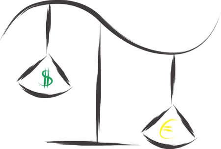An illustration with balance dollar and euro Illustration