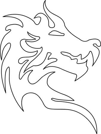 black and white dragon: An illustration with dragon head
