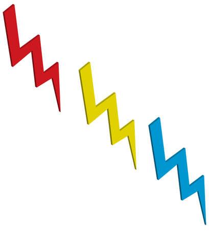 An illustration with three flash power Illustration