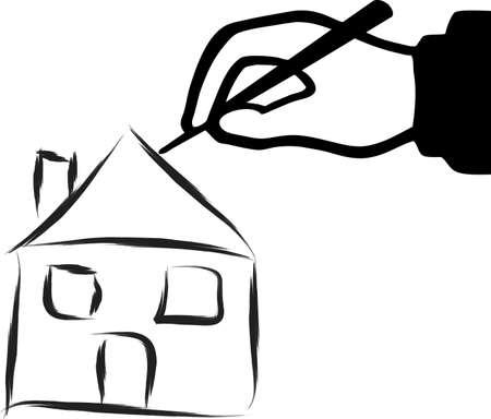 Eine Darstellung mit der Hand zeichnen ein Haus Illustration