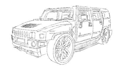Illustration with car offroad Stock Photo