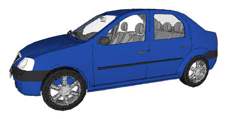 Illustration with blue car