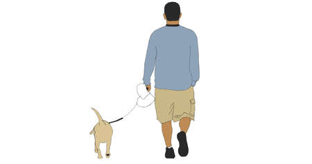Illustration with man walk dog