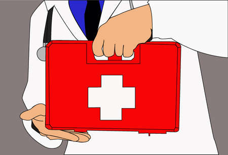 The body of a doctor in a white coat, holding a red first aid kit with his hands, on a gray background Illusztráció