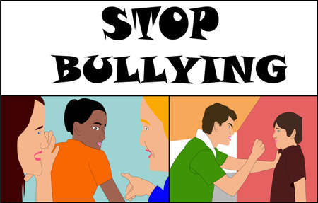 Against Bullying, representation of stop bullying, teasing and aggression