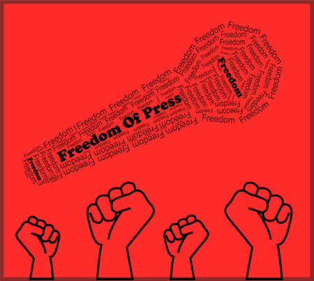 International press freedom day, word press freedom, forming a microphone with hands clenched underneath, on a red background