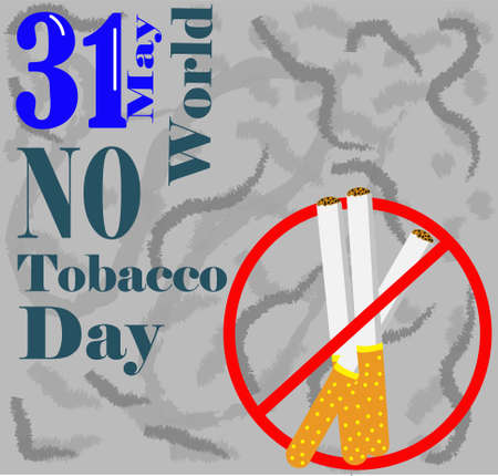 world no tobacco day, illustration of three cigars locked in a red circle, with the phrase world no tobacco day, on a gray background
