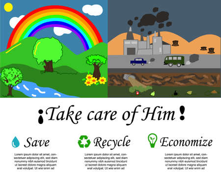 World environment day, illustration to raise awareness about caring for the environment, the box on the right shows a healthy and clean environment, the one on the left shows it damaged and polluted 일러스트