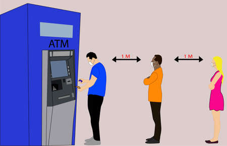 People queuing to withdraw money from the ATM, 2 of them wait while one withdraws their money, respecting the new rules of health and social distancing to avoid the spread of the coronavirus