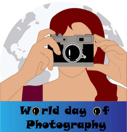Commemoration of world photography day, woman with an analog SLR camera, with the earth in the background and the text, world photography day, below, on a gradient background